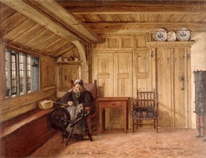 Geestharden house - A Döns in Klockries. Above left in the room, the Katschur. Right: in the corner is the Bilegger. Behind the table are probably doors to the Alkoven.