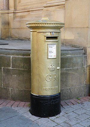 2012 Summer Olympics and Paralympics gold post boxes - Image: Jessica Ennis' Golden Post Box, Barker's Pool, Sheffield geograph.org.uk 3074530