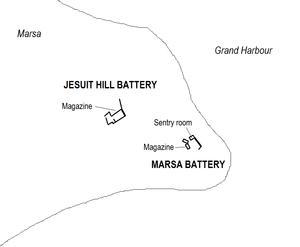Jesuit Hill Battery - Image: Jesuit Hill & Marsa Batteries map
