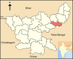 Location of Jamtara district in Jharkhand