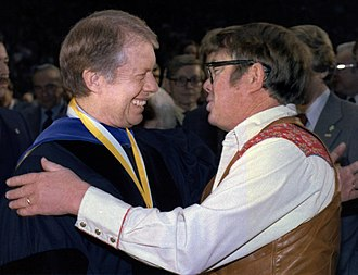 Billy Carter - Billy Carter (right), greets his brother, President Jimmy Carter, at the commencement ceremonies at the Georgia Institute of Technology in Atlanta February 20, 1979.