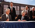 Joe Coors Jr., President George Bush Sr, Alvin Trivelpiece, Lamar Alexander, and Jimmy Quillen Oak Ridge (6960488198).jpg