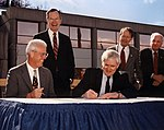 Joe Coors Jr., President George Bush Sr, Alvin Trivelpiece, Lamar Alexander, and Jimmy Quillen Oak Ridge (6960488198).jpg