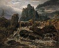 Johan Christian Dahl - Waterfall with a Castle Ruin - Fjellparti med foss - KODE Art Museums and Composer Homes - BB.M.00153.jpg