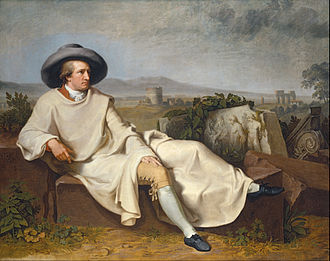 Artist - Johann Heinrich Wilhelm Tischbein, Goethe in the Roman Campagna, 1787, portrait of Johann Wolfgang von Goethe, German artist known for his works of poetry, drama, prose, philosophy, visual arts, and science.