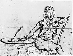 Self-portrait by Major John André,drawn on the eve of his execution