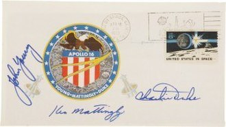 Apollo insurance covers - John Young's Apollo 16 Insurance Cover, postmarked April 16th 1972 and signed by John Young, Ken Mattingly and Charlie Duke