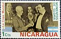 Jules Rimet presents 1930 FIFA Cup to Raúl Jude 1974 stamp of Nicaragua.jpg
