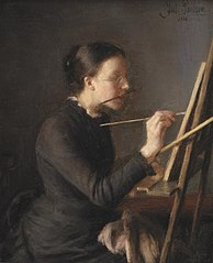 The Painter Agnes Paulsen, the Artist's Sister, at her Easel