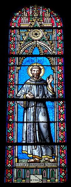 Vitrail de l'église Saint-Martin de Juvigné (53). Saint-François-d'Assise.