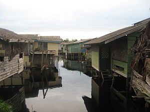 Matu District - Stilt houses in Matu during a flood.
