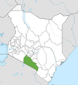 Location of Kajiado County (Green)