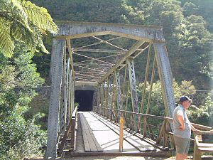 East Coast Main Trunk - Former ECMT rail bridge in Karangahake Gorge. The bridge is now part of a public walkway and the Hauraki Rail Trail cycleway.
