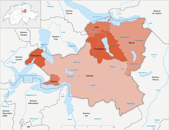 Karte Kanton Schwyz Bezirke 2010