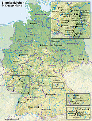 Simultaneum - Map of all simultaneum churches in Germany