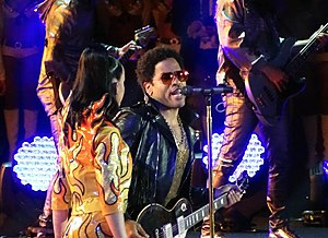 Super Bowl XLIX halftime show - Lenny Kravitz performing with Perry at the halftime show