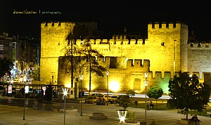 Kayseri Castle - A gate of Kayseri Castle at night
