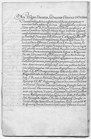 Union of Kėdainiai - Text of the treaty in Latin