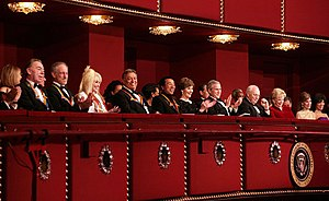 Kennedy Center Honors - The 2006 honorees at the Kennedy Center on December 6, 2006, with President George W. Bush and First Lady Laura Bush. From left, Andrew Lloyd Webber, Steven Spielberg, Dolly Parton, Zubin Mehta, Smokey Robinson, Vice President Dick Cheney, and Lynne Cheney.