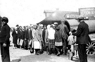 Kerosene - A queue for kerosene. Moscow, Russia, 1920s