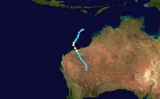 1972–73 Australian region cyclone season - Image: Kerry 1973 track