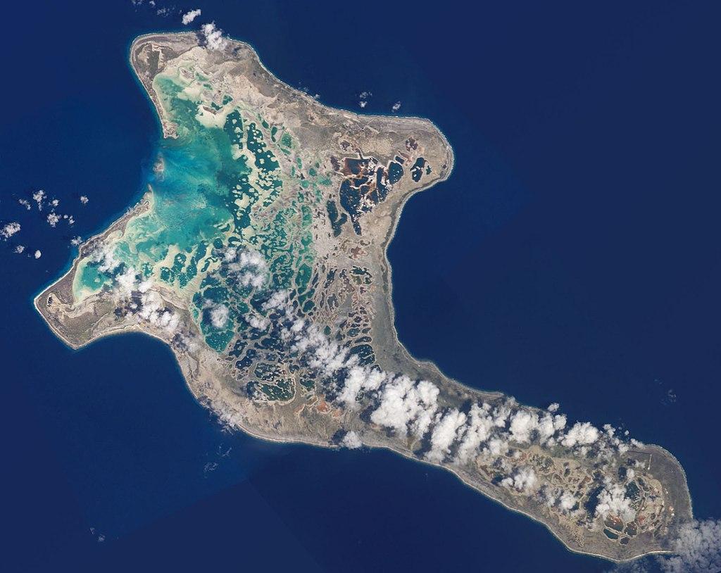 Imagine satelitară a insulei Kiritimati