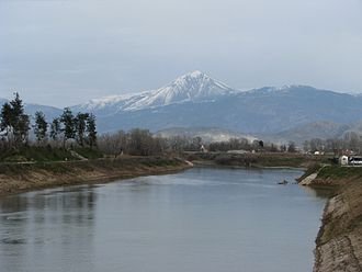 Larissa - Mount Ossa viewed from Pineios river in Larissa.