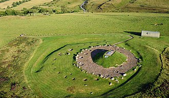 Cairnpapple Hill - Kite aerial photo of Cairnpapple Hill: henge and cairn