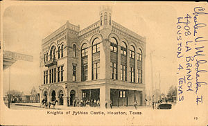 Knights of Pythias - Knights of Pythias Castle, Houston, Texas (postcard, circa 1898)