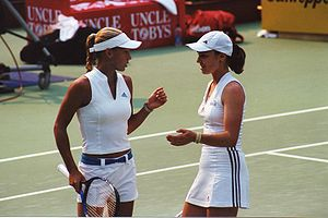 Martina Hingis - Martina Hingis (right) with doubles partner Anna Kournikova at the Sydney WTA tournament, 2002