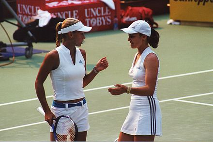 Kournikova (left) with doubles partner Martina Hingis Kournikova-Hingis-SYD-1.jpg