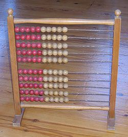 An abacus provides concrete experiences for learning abstract concepts.