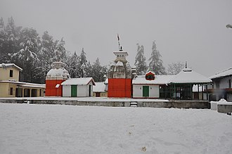 Pauri Garhwal district - Kyunkaleshwar Mahadev temple during snowfall