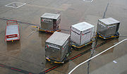 A number of LD-designation Unit Load Device containers.