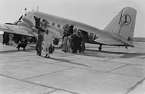 LOT Polish Airlines - Passengers disembark a pre-war LOT Douglas DC-2 aircraft