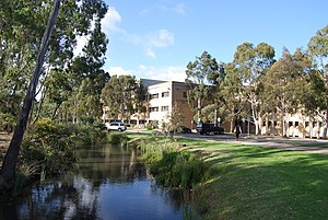 La Trobe University - Moat and George Singer Building, La Trobe University Bundoora Campus