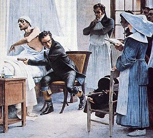 René Laennec - Laennec auscultates a patient before his students