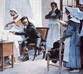 René Laennec - Laennec auscultates a patient before his students