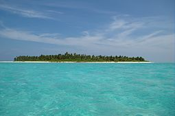 The tiny low-lying islands of Lakshadweep may be inundated by sea level rises associated with global warming. LakshadweepIsland.jpg