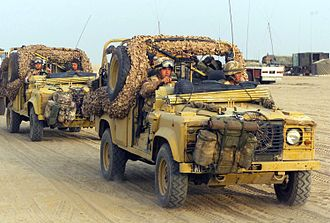 Land Rover Wolf - Land Rovers from 16 Air Assault Brigade preparing for an evening raid near Basra, Iraq.