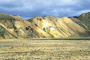 Volcanic desert - Landmannalaugar in south-central Iceland is an example of a volcanic desert