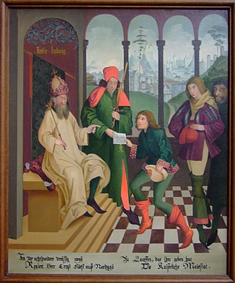 Lauffen am Neckar - Painting in the Regiswindis Church depicting emperor Ludwig granting margrave Ernst the fiefdom of Lauffen in 832