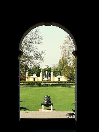 Nehru Memorial Museum & Library - View of Rashtrapati Bhawan from the entrance porch of Teen Murti Bhawan