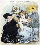 Desenho colorido de uma caricatura sobre a separação entre Igreja e Estado