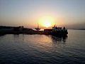 Le chantier de groupement Houar-Atlantic pour la construction du nouveau quai Croisiére et le lever du soleil au jettée moulay youssef.jpg