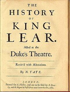 <i>The History of King Lear</i> Nahum Tates 1681 adaptation of King Lear
