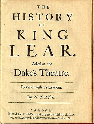 Nahum Tate - Cover of Tate's version of ''King Lear''