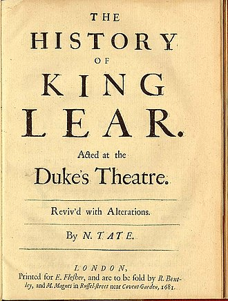 Nahum Tate - Cover of Tate's version of King Lear