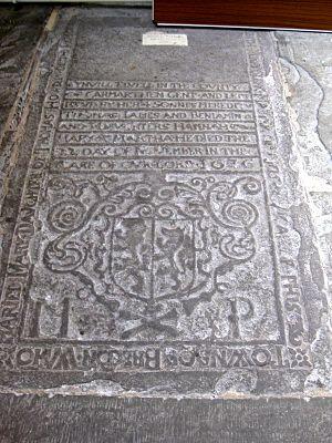 Ledger stone - Ledger Slab in Brecon Cathedral, 1676