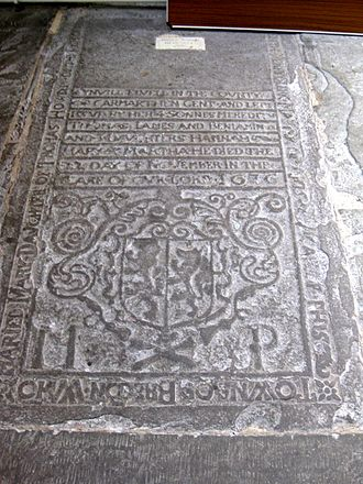Ledger stone - Ledger Slab in Brecon Cathedral, 1676